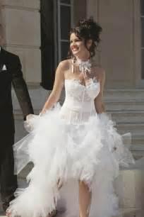 robe longue invitã mariage robe de mariée jupe en tulle courte devant et longue derriére robes de mariées robes de