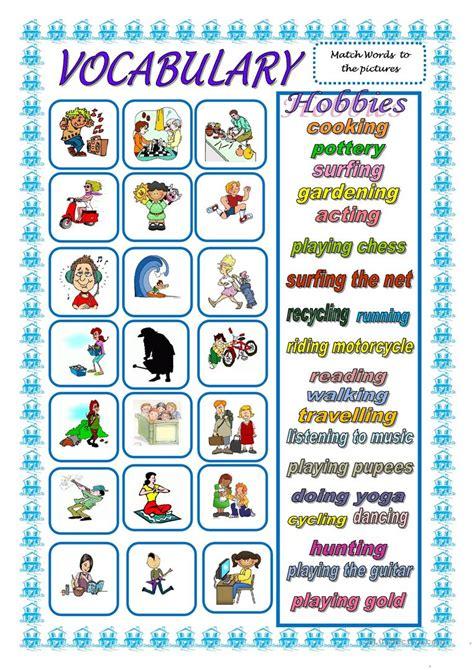 vocabulary hobbies worksheet  esl printable