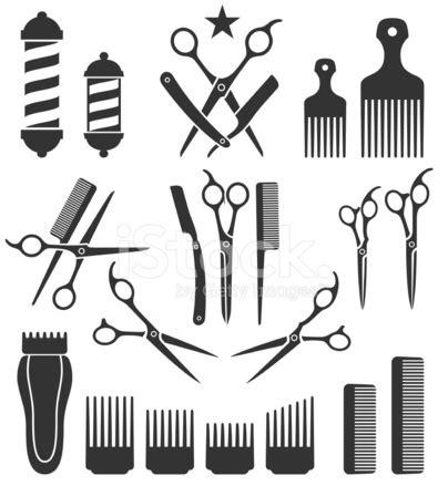 barber tools  haircut black  white vector icon set