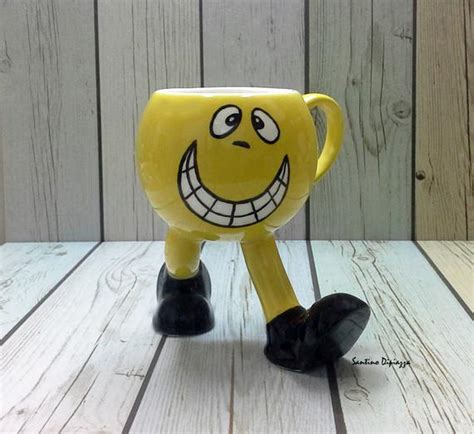 funny emoji mug office mug face cup  legs yellow coffee