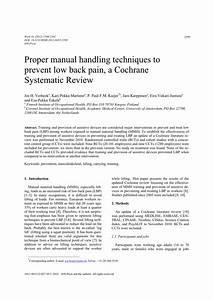 Pdf  Proper Manual Handling Techniques To Prevent Low