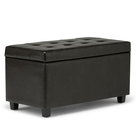 rectangular ottoman coffee table leather storage ottoman bench foot stool tufted seat