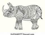 Rhino Coloring Balanced Line Freeart sketch template
