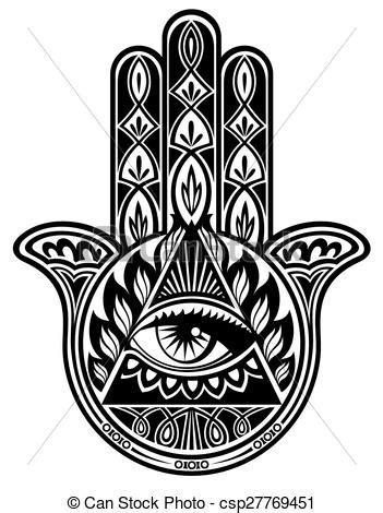 Hamsa hand. Vector decorative hand with eye.
