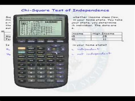 square calculator exle of a chi square test of independence using a calculator youtube