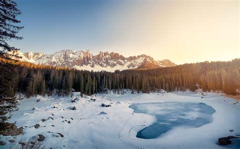 karersee lake winter italy wallpapers hd wallpapers id