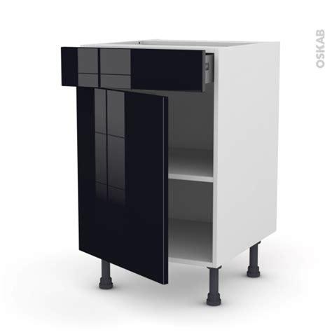 meuble de cuisine noir meuble de cuisine bas keria noir 1 porte 1 tiroir l50 x h70 x p58 cm oskab