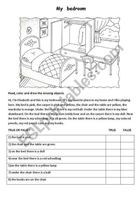 bedroom esl worksheet  maestralidia