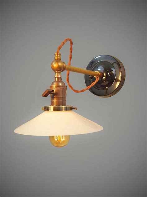 vintage industrial wall sconce machine age lamp  brass