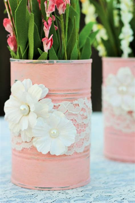 purposed tin cans  painted   pink chalk