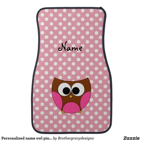 personalized name owl pink white polka dots car mat owls pink cars and dots
