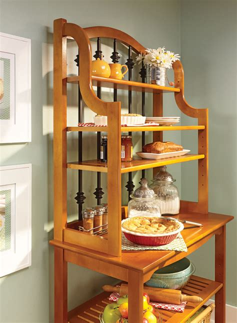 traditional bakers rack woodworking project woodsmith plans