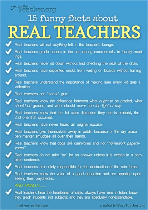 15 Funny Facts About Real Teachers - Infographic   NJBiblio