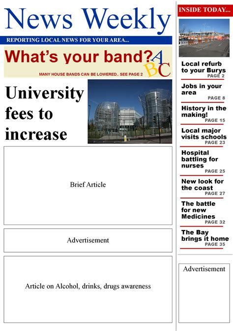 front page newspaper template blank front