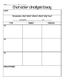 character analysis essay graphic organizer by keep calm and teach 5th grade