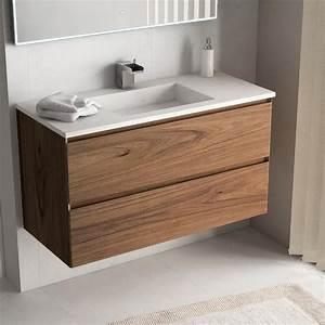 meuble 101 cm bois noyer vasque pierre 2 finitions cordoue With destockage meuble salle de bain bois