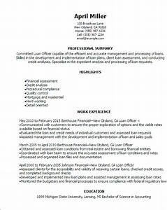 professional loan officer resume templates to showcase With how to make a resume for a business loan