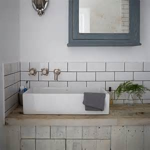 industrial style bathroom with metro tiles decorating