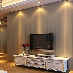Plain non woven wallpaper modern minimalist thin vertical ...