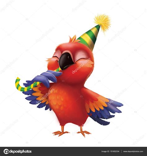 smiling parakeet parrot eating candy  party hat kids