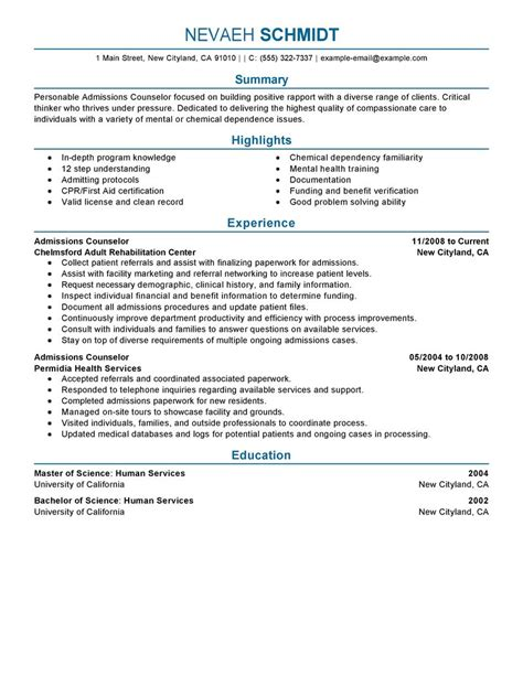 Admissions Representative Resume Objective by Admissions Counselor Resume Exles Social Services