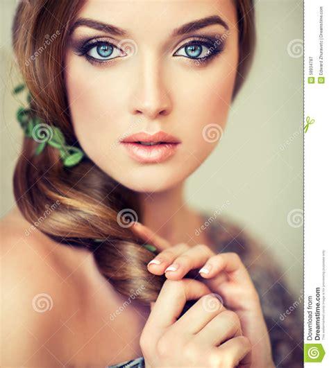 pretty girl  big beautiful blue eyes stock image