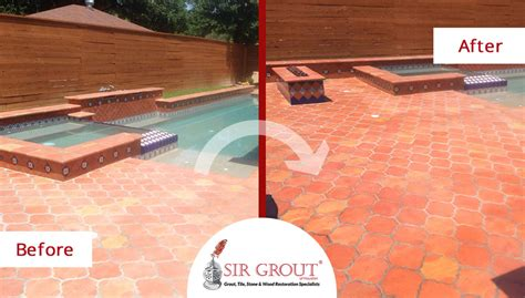 this saltillo tile pool deck in houston was treated with a