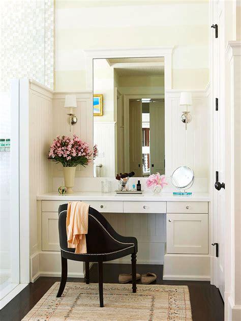 Makeup vanity table with lighted mirror. Bathroom Makeup Vanity Ideas | Better Homes & Gardens