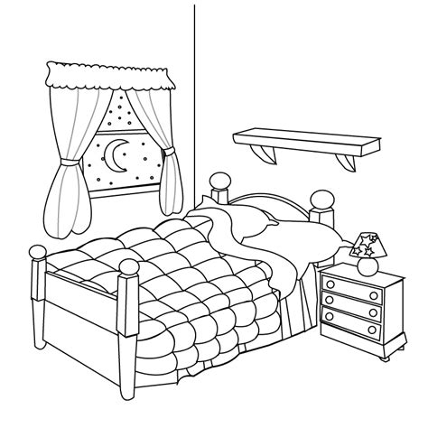 Coloring Living Room by Bed Clipart Coloring Pencil And In Color Bed Clipart