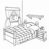 Coloring Bed Bedroom Popular sketch template