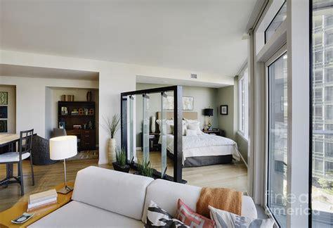 bedroom area  living room  upscale studio apartment