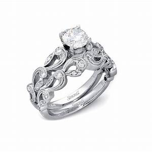 33ct simon g diamond antique style 18k white gold for Vintage engagement ring and wedding band