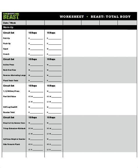 sample gym workout sheet templates  ms word