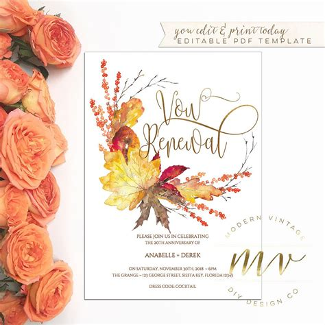 vow renewal anniversary invitation template  gold