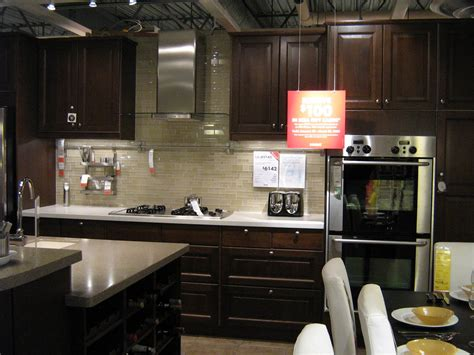 pictures  ikea kitchens dark wood cabinets  light sand tones glass tile backsplash