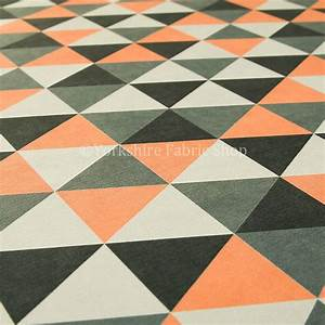 Designer Geometric Triangle Pattern Orange White Grey ...