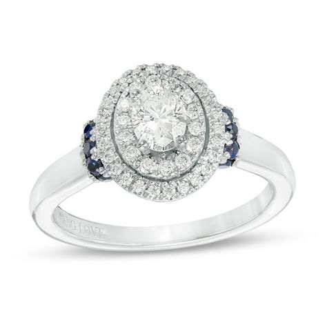 vera wang love collection 0 58 ct t w oval diamond and blue sapphire double frame engagement