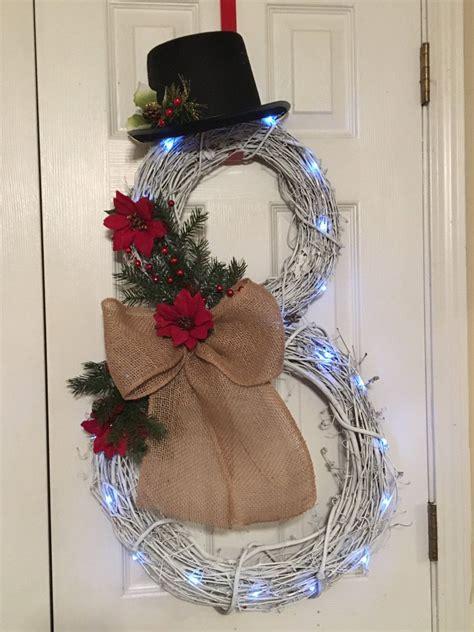 snowman wreath burlap snowman lighted snowman  wreathsbybrittnee  etsy snowman wreath