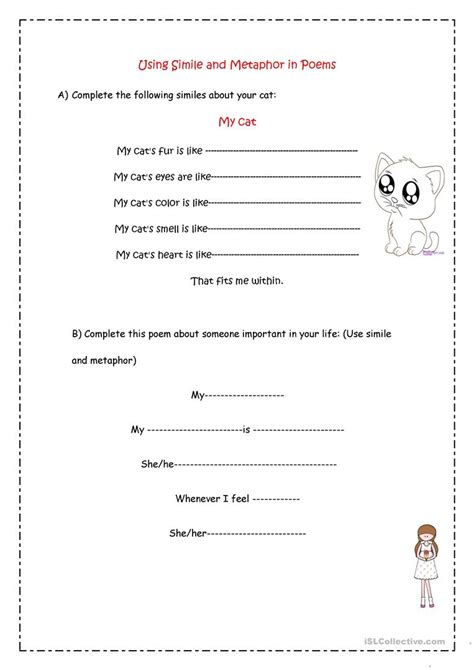 worksheet simile or metaphor worksheet worksheet fun