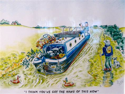 Cartoon Canal Boats by Sonya Home Away From Home Travelling B16 S