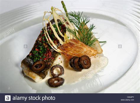 nouveau cuisine nouvelle cuisine gourmet fish dish stock photo royalty