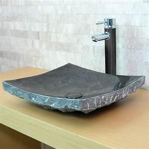 Lavabo En Pierre Naturelle : vasque en pierre rectangulaire serene calcaire gris ~ Premium-room.com Idées de Décoration