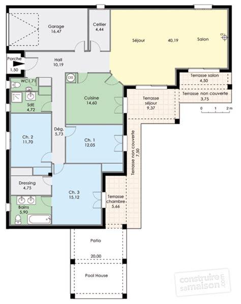 plan de maison 3 chambres plain pied plan maison de plain pied 3 chambres ventana
