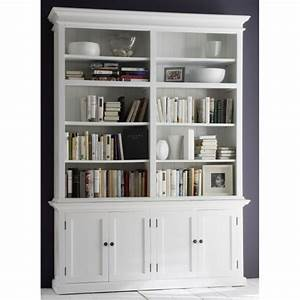 bibliotheque large acajou blanc bois massif With meuble bibliotheque grande hauteur