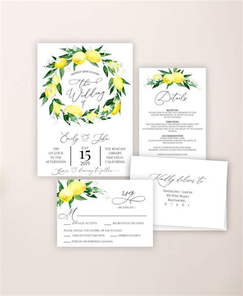 Lemon Blossom Wedding Invitation Template Printable Lemon