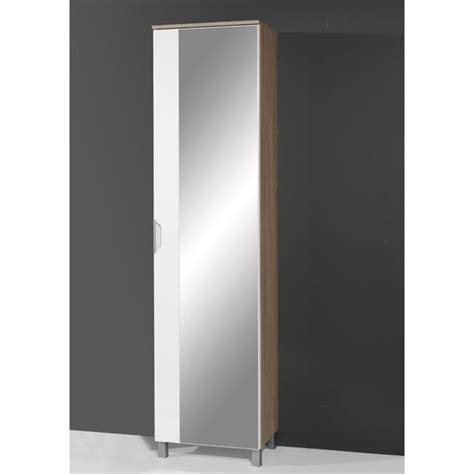 santos tall mirrored bathroom cabinet  gloss whiteoak