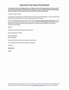 sample letter request for free copy of credit report With credit report request form letter