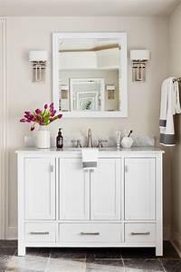 White, Vanity, With, Marble, Backsplash, Enhances, Master, Bathroom