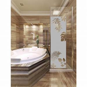 sticker porte de douche feuilles exotiques stickers art With stickers porte douche design