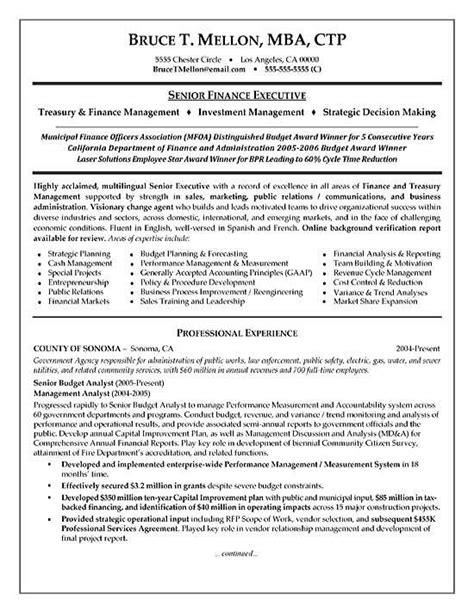 Accounts And Finance Resume Format by Financial Manager Resume Exles Manager Resume